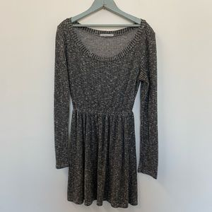 Long sleeve knit mini dress in marled grey